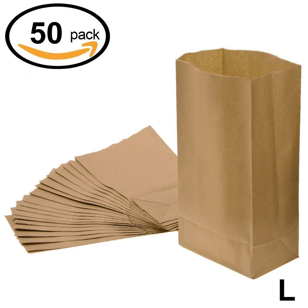WINGONEER Groceryバッグクラフト紙バッグパーティーランチフラットBottom紙バッグ、6 # 11 x 5.9 X 3.5インチ50個 B076H36H94