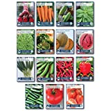 Heirloom Vegetable Garden Seed Collection – Assortment of 15 Non-GMO, Easy Grow, Gardening Seeds