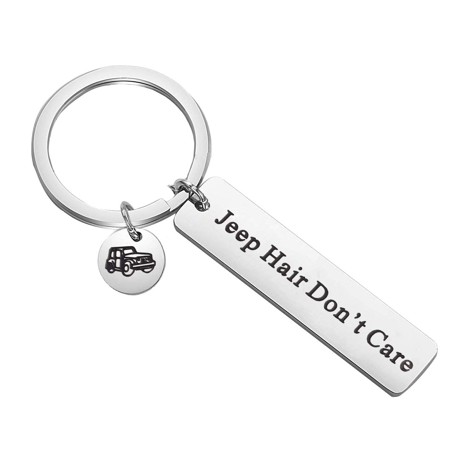 PLITI Jeep Girl Gifts Jeep Hair Dont Care Keychain Jeepsy Soul Keychain Jeep Lover Owner Jeep Enthusiast Gifts