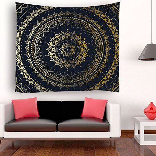 ENJOHOS Black and Gold Mandala Tapestry Bedroom Lotus Wall Hanging for Living Room Home Decor Wall - Tapestry Black Silk