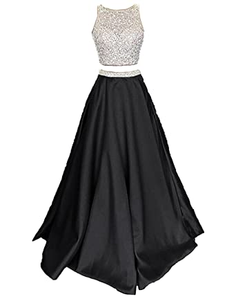 Callmelady Satin Two Piece Prom Dresses Long Evening Gowns for Women Formal (Black, UK4