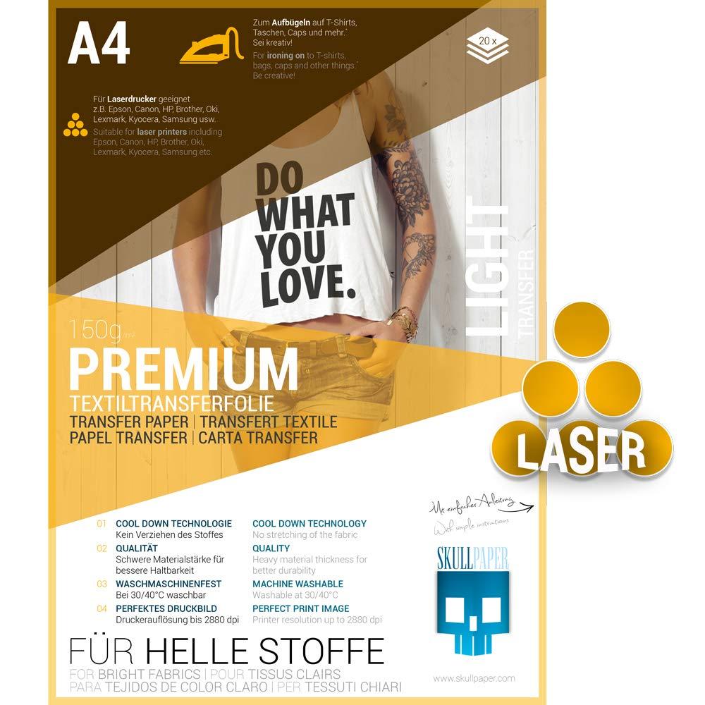 SKULLPAPER Premium A4 T-Shirt Tessile Transfer Film per tessuti di colore chiaro / Tessili per la stampa - incl. 200 + modelli di motivo gratis - Carta Transfer / Film Tessile per stampantes laser (10 fogli)