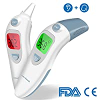Forehead and Ear Medical Baby Thermometer - Digital Infrared Fever Thermometer for Babies Kids Adults, 1 Second Reading, Memory Recall, Fever Warning