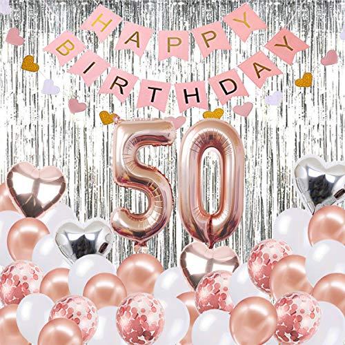 Globos Decorativos para cumpleaños de 50 años, Banner de Feliz cumpleaños, Globos número 50 de Oro Rosa, Número 50 Globos de cumpleaños, Suministros ...