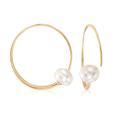04581ac06 Amazon.com: Ross-Simons 9-9.5mm Cultured Pearl Threader Hoop Earrings in  18kt Gold Over Sterling: Jewelry
