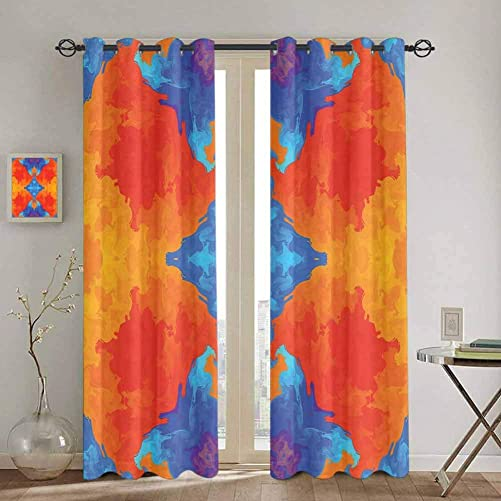 SONGDAYONE Trippy Farmhouse Curtain Kaleidoscopic Motif Vibrant Blue and Orange Psychedelic Image Symmetrical Pattern 2 Panel Sets W84 x L96 Inch Multicolor