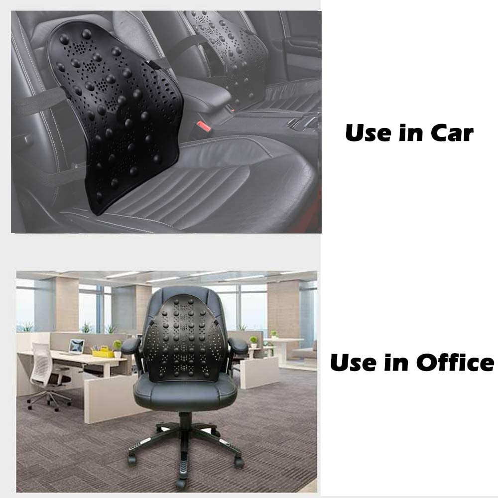 Black Wheelchair Lumbar Back Support for Car Seat Office Chair Big Ant Lumbar Support Car back Support with Massage Beads Ergonomic Designed for Comfort And Lower Back Pain Relief