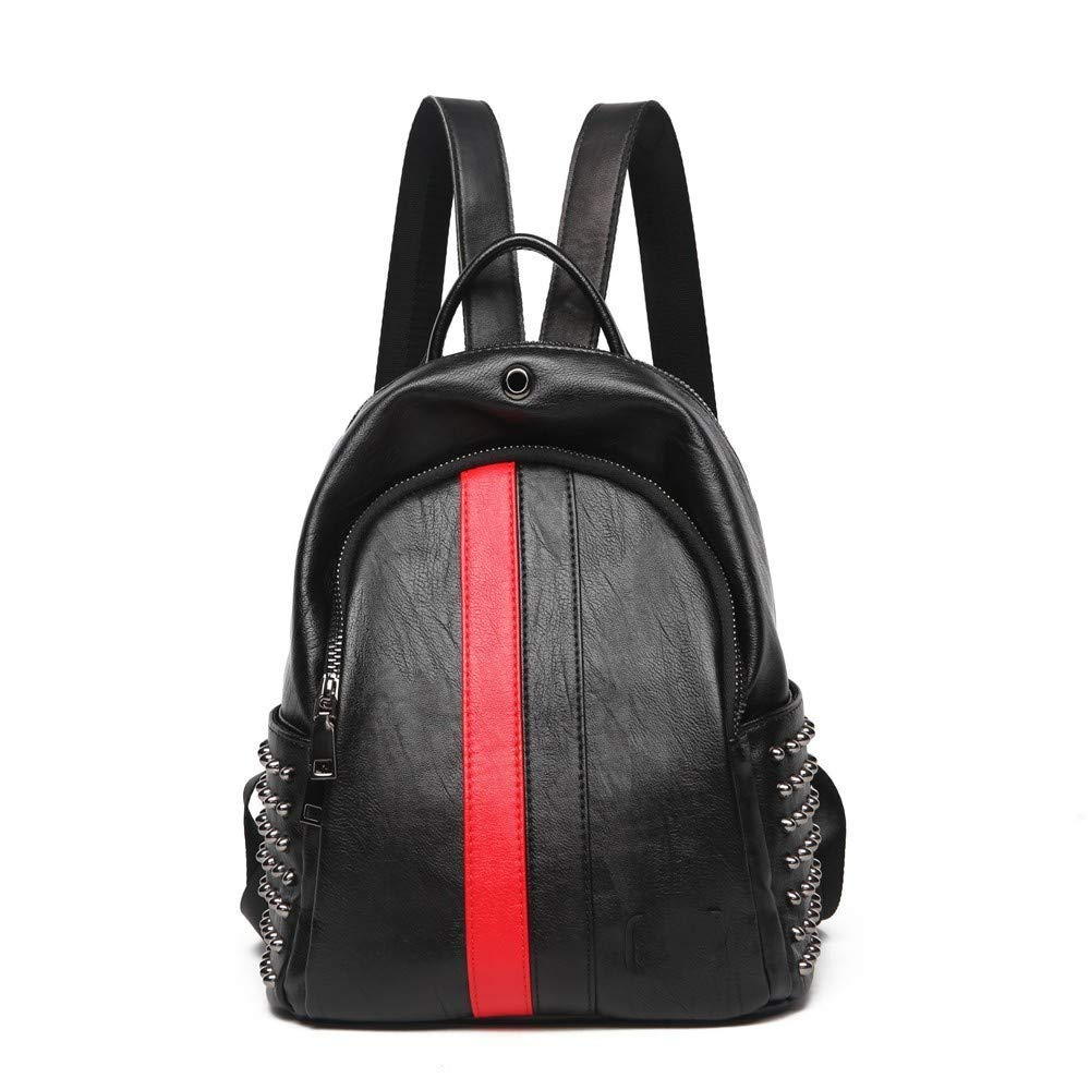 Black Red DYR Backpack Lady leatherckpack Student Bag Outdoor Travel Backpack Casual Bag, Black + Red