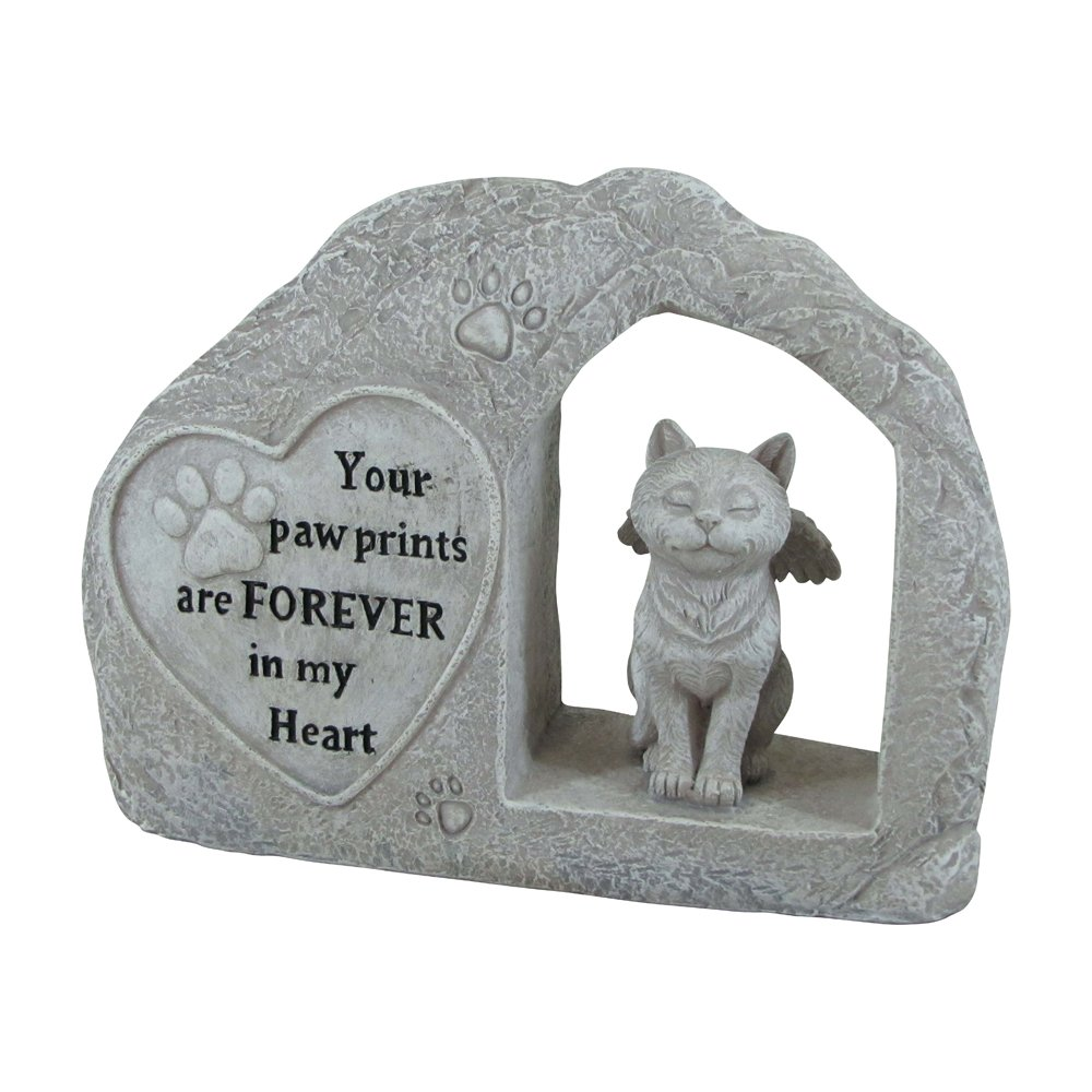 "Comfy Hour 7"" Height Polyresin Memorial Cat Angel Pet Statue, Handmade Light Gray, Stone Looking, for Your Home Or Garden"