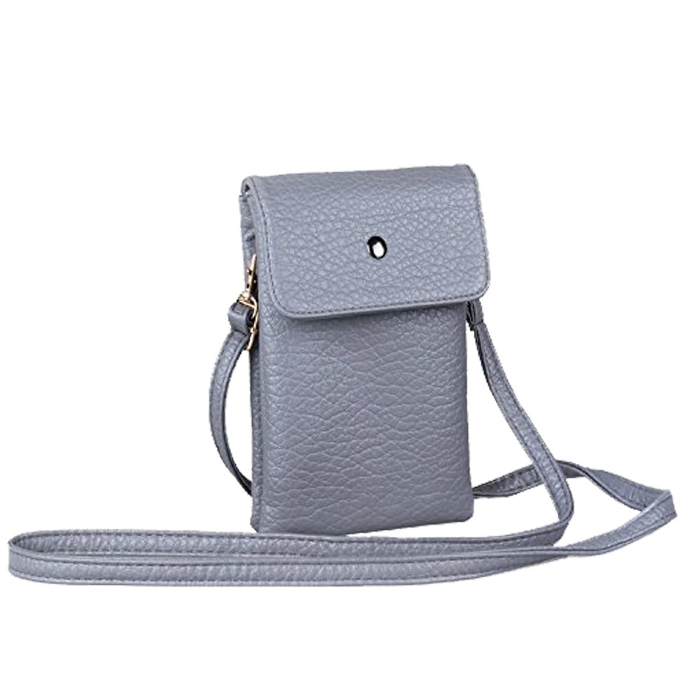 Katloo PU Leather Small Crossbody Bag Wallet Purse Cellphone Pouch Shoulder Strap Women Girls Fit iPhone X 8 7 Plus 6S/6 5S 5C Samsung Galaxy S8+ S7 S6 Edge S5 (Grey-Small)