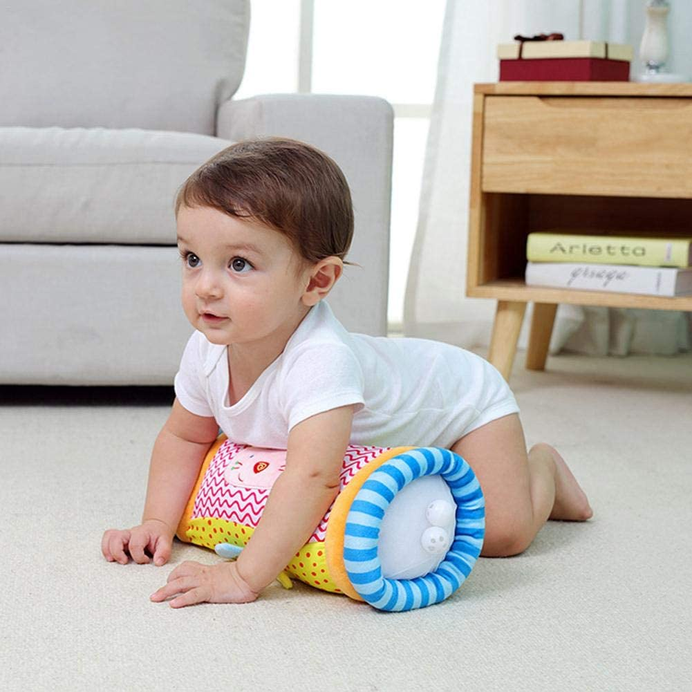 Baby Crawling Roller Multifunction Crawling Roller Pillow Puzzle Fitness Climbing Toy with 2 Bells on Each Side of The Drum aby Steps Roller 13.39in Length