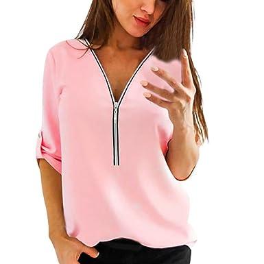 b3634dc7e0db Damen Blusen Chiffon Blusen Tunika mit Reißverschluss Vorne V-Ausschnitt  3 4 Ärmel Shirt Tops Elegant Oberteile Hemd T-Shirt  Amazon.de  Bekleidung