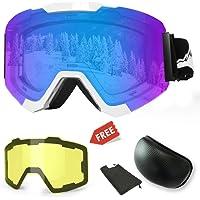 WLZP Gafas de esquí,Gafas de esquí magnéticas Intercambiables con 2 Lentes de Modelado, Protección Anti-vaho UV400 Gafas de Snowboard para Deportes