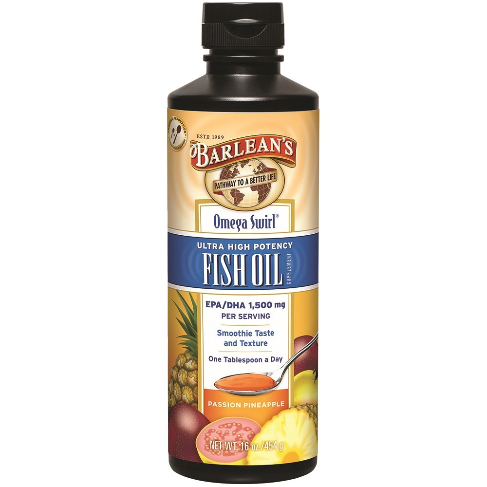 Barlean's Ultra High Potency Omega Swirl Fish Oil, Passion Pineapple, 16-oz
