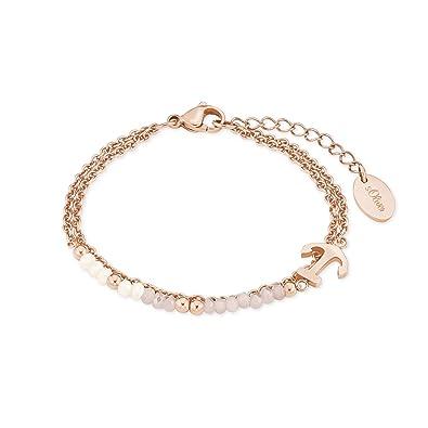 low priced sleek classic fit s.Oliver Damen-Armband aus Edelstahl mit IP Rose Beschichtung,  Anker-Anhänger und Glassteine in rosa