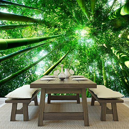 Cheap  Looking Up Through Green Bamboo Trees Forest Wall Mural Nature Photo Wallpaper..