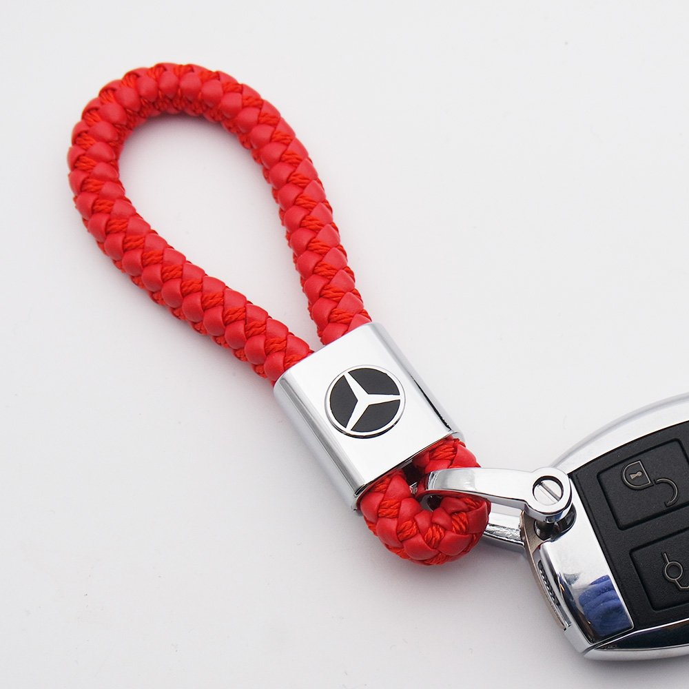 For Mercedes-Benz Logo Emblem Key Chain Key Ring Metal Alloy BV Style Leather Gift Decoration Accessories AMG Red