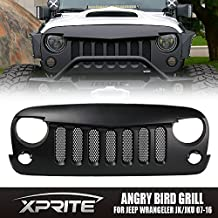 Xprite Angry Bird Grille Grill with Mesh Insert for Jeep Wrangler Rubicon Sahara Sport Jk 2007-2016 (Matte Black)