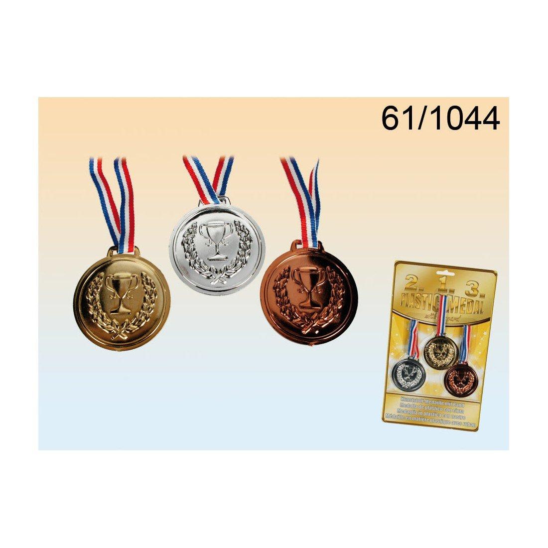 Medallas de plástico falso - Medalla con la cinta - oro, plata y bronce - Competencia - Olimpiadas ToyCentre