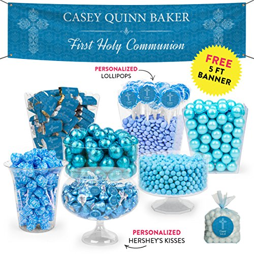 (Personalized Boy First Communion Blue Candy Buffet (Approx 14lbs) - Includes Hershey's Kisses, Gumballs, Dum Dums Lollipops & More)