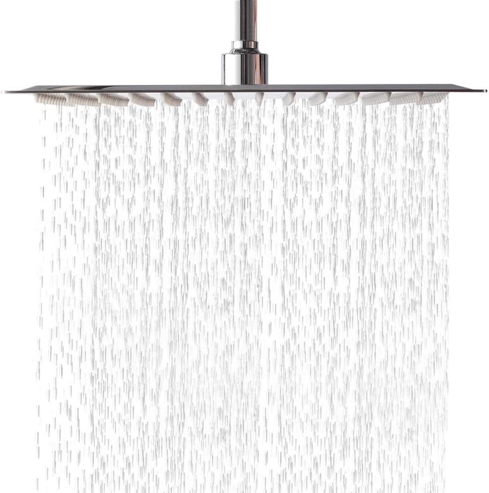 LORDEAR Solid Square Ultra Thin 304 Stainless Steel 16 Inch Adjustable Rain Shower Head with Polish Chrome,Waterfall Full Body Coverage with Silicone Nozzle Easy to Clean and Install