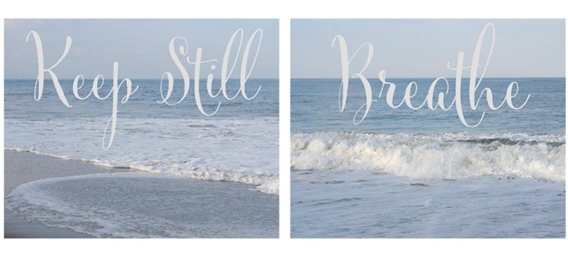 Inspirational Art Prints, Breathe and Keep Still Quote Photos, Calming Relaxing Art, Beach Cottage Decor, Ocean Photography, Pastel Blue Wall Art Set, Zen Room, Yoga Studio, Bedroom Artwork