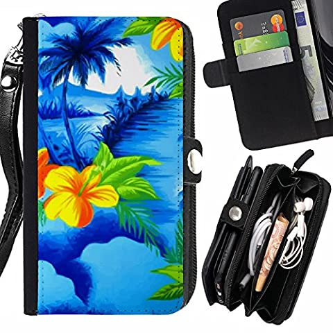 Graphic4You Hawaiian Hawaii Flower Zipper Wallet With Strap Card Holder Case Cover for Samsung Galaxy S5 (Samsung Galaxy S5 Cases Hawaii)