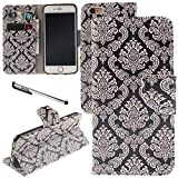 iphone6 cover card holder - Urvoix iPhone 6 / iPhone 6S Case, Card Holder Stand Leather Wallet Case - Floral Totem Flip Cover for 4.7