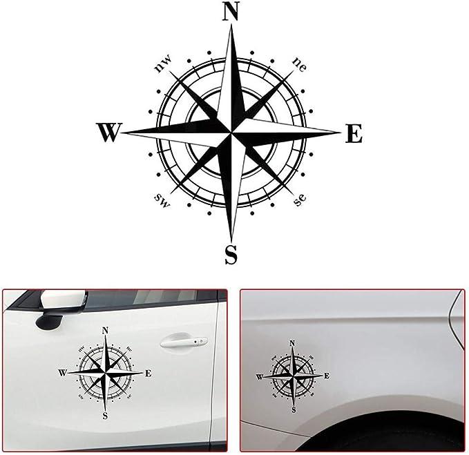 Boussole Autocollants de Voiture Stickers D/écoration en PVC Tuankayuk D/écalcomanie Auto Camion SUV Moto V/élo noir 15 * 15cm