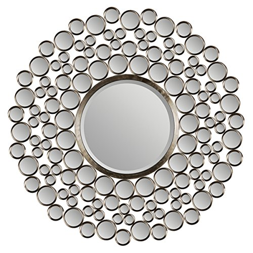 (Sunburst Wall Mirror Silver Satin Nickel Finish | 42 inches Diameter Includes ModHaus Living (TM))