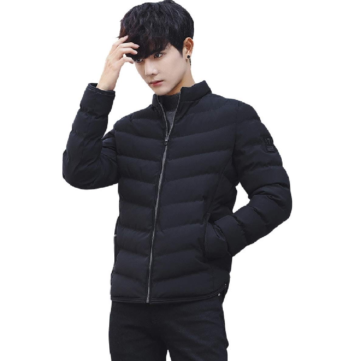 Winwinus Mens Stand Up Collar Short Solid Thickening Cotton Parka Jacket Coat Outwear