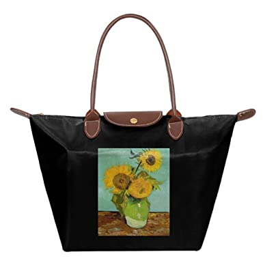 21b19d521c Amazon.com  HANRUI Van Gogh Sunflower(6) Oil Painting Collapsible Dumpling  Bag Womens Shoulder Bags Durable Nylon Handbag  Clothing