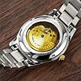 Mens-25-Jewels-Automatic-Movement-Mineral-Mirror-Blue-Tritium-Light-Transparent-Cover-Silver-Gold-Watches