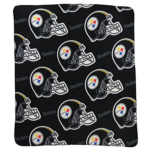 Football Fleece Blanket Team Nfl (The Northwest Company NFL Team Helmet Fleece Throw Blankets - Pittsburgh Steelers)