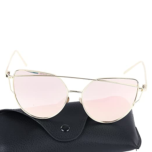 a7394ab38bd4 DICSSIN Cat Eye Mirrored Lenses Metal Frame Sunglasses for Women Men (Gold  Frame Pink
