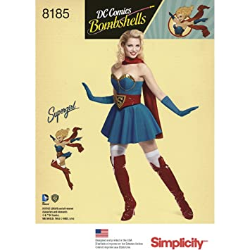Simplicity 8185 R5 Schnittmuster D.C Bombshells Super Girl Kostüm ...