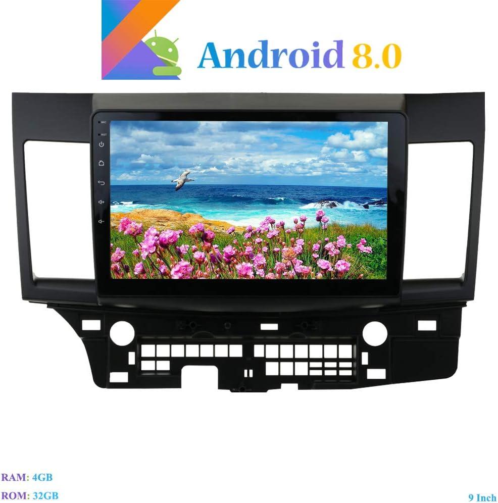 Hi-Azul Android 8.0 Autoradio 9 Pulgadas Radio de Coche 8-Core RAM 4G ROM 32G Navegación GPS De Coche con Pantalla Curvada 2.5D para Mitsubishi Lancer EVO X (Autoradio): Amazon.es: Electrónica