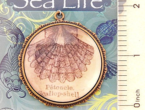 - Pendant Jewelry Making Antiqued Gold Altered Art Purple Scallop Shell Bead Drop Pewter Focal Pendant