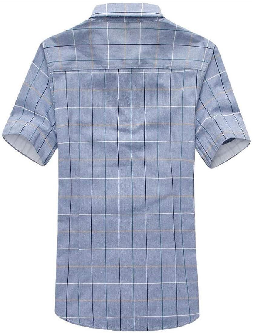 heymoney Mens Plaid Regular Fit Short Sleeve Shirts Casual Button Down Shirts