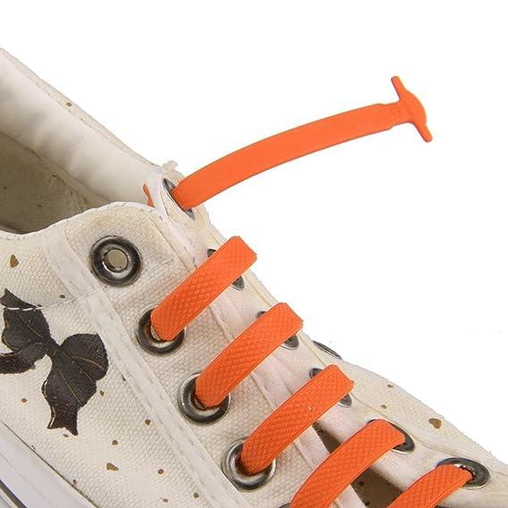 Lyuboov zapatos de unión elásticas de silicona sin cordones de los zapatos para niños (conjunto de 12pcs) (Orange): Amazon.es: Deportes y aire libre