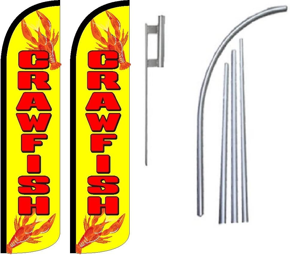 Pack of 2 Dinner King Windless Swooper Flag Sign Kit With Pole and Ground Spike