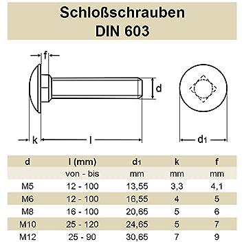 25 Stück M6X70 Schloßschrauben DIN 603  Edelstahl V2A