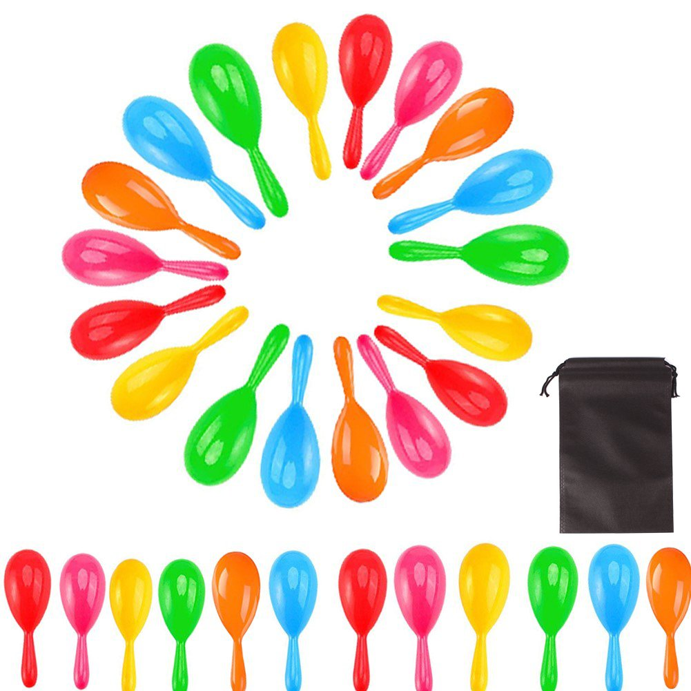 RoomDiary 30pcs Neon Party Maracas Shakers Colorful Noise Makers Bulk with Drawstring Bag For Mexican Fiesta - 4'' Mexican Shakers Mexican Fiesta Party Decorations, 6 Colors by RoomDiary