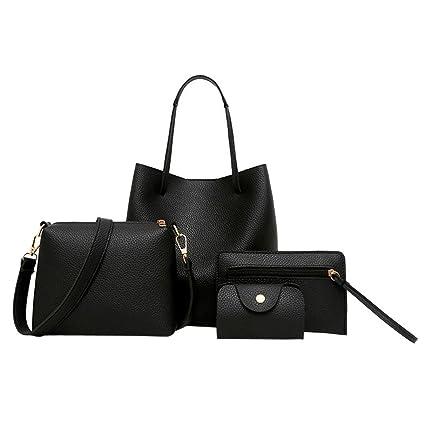 c2e293370051 Rakkiss 4Pcs Women Pattern Leather Bag Handbag+Crossbody Bag+Messenger  Bag+Card Package