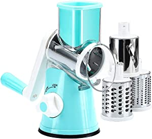 Manual Rotary Cheese Grater - Handheld Slicer Grinder -Round Slicer with 3 Drum Stainless Steel Blades, Vegetable Slicer with potatoes ,Cucumbers and Carrots, Vegetable Peeler - Blue