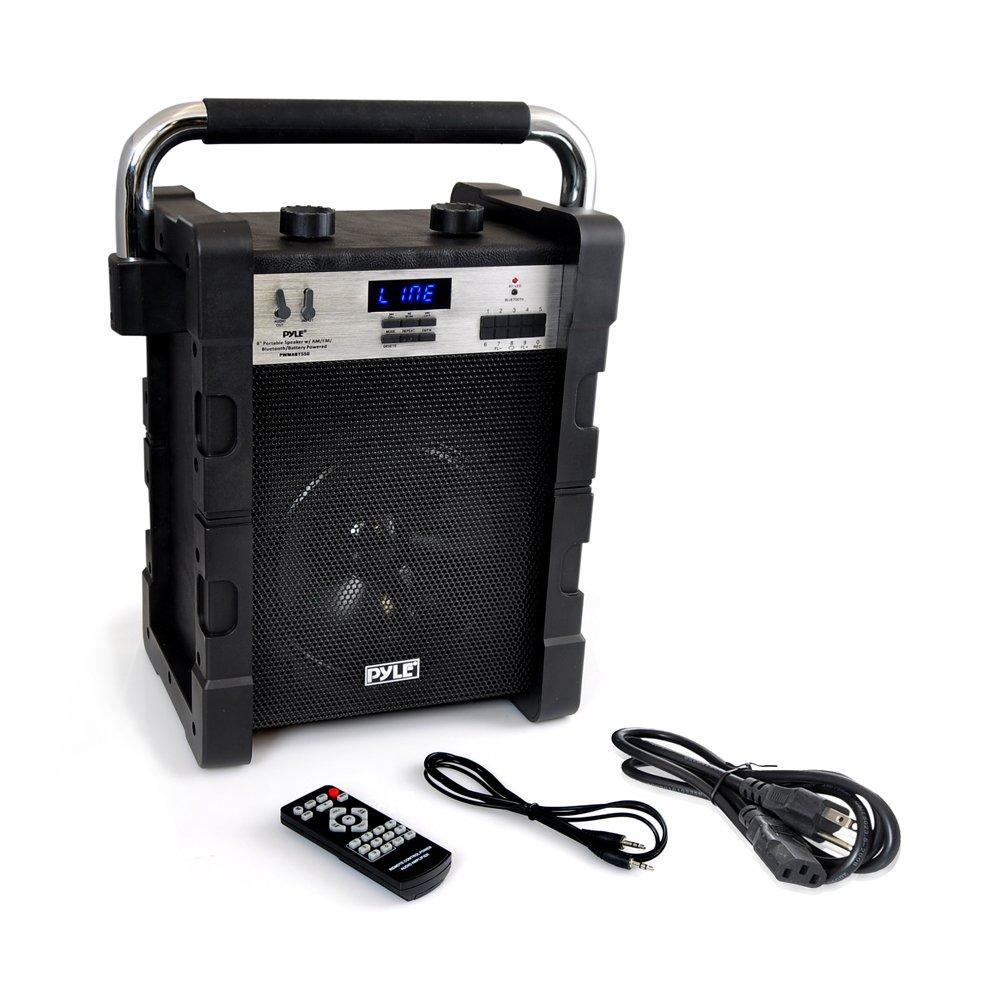Pyle jobsite radio Portable Heavy-Duty Wireless Bluetooth AM/FM Radio USB SD Card reader, Black (PWMABT550BK)