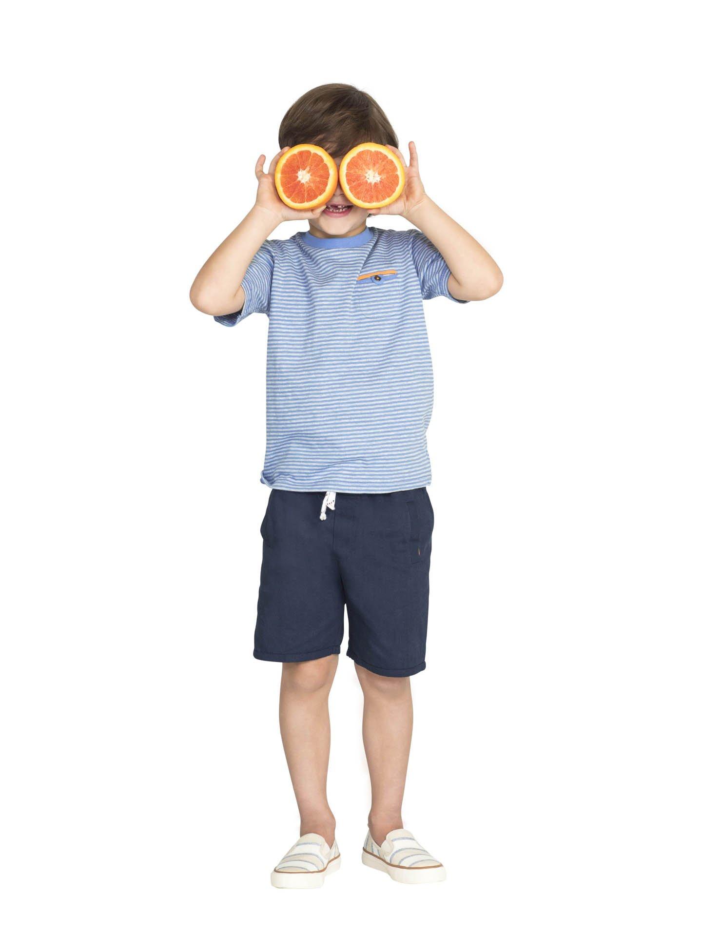 Colored Organics Boys Organic Crew Tee Shirt - Blue Stripe - 5T by Colored Organics (Image #1)