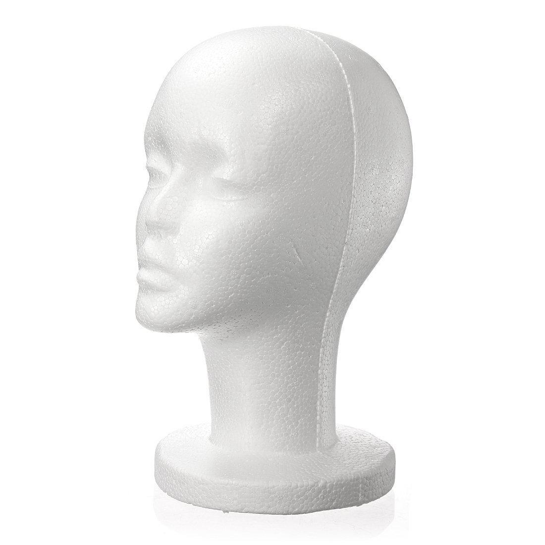 SODIAL(R) Fashion Female White Foam Styrofoam Mannequin Hat Cap Dummy Wig Head display Holder Model
