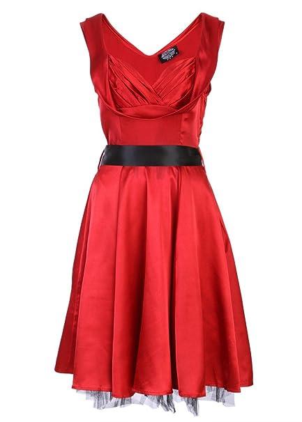 Pretty Attitude Roja Fifties Pinup Retro de Mujer Vestido de satén Rojo 36/38