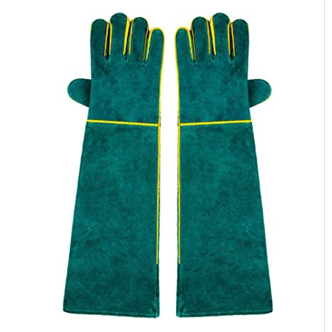 Anti-Bite Animal Handling Gloves, UMIWE Cowhide Durable Sleeve Anti-Scratching Thickening Leather Ultra Long Glove Hand Protector For Bee Cat Dog Snake Parrot Lizard Wild Reptile Animals